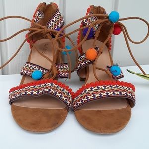 BAMBOO Shoes - Bamboo Brown Suede Sandals size 8